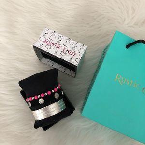 Rustic Cuff Bracelet Trio Pink Black Silver NWT